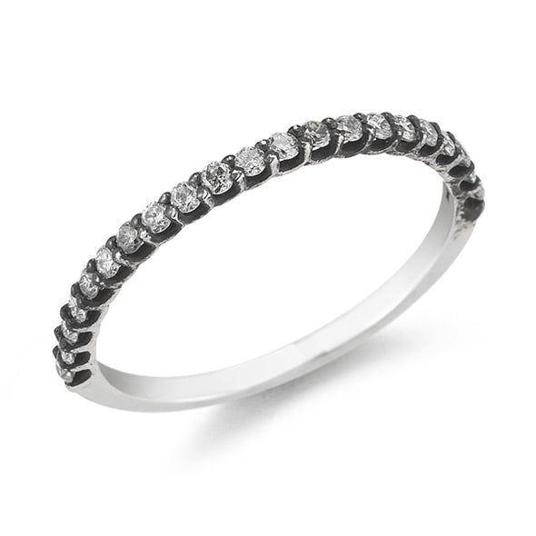 Silver Oxidized Thin Band with 0.22ct Gray Diamond