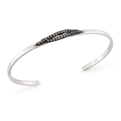 Open Bangle with Small Diamond Feather