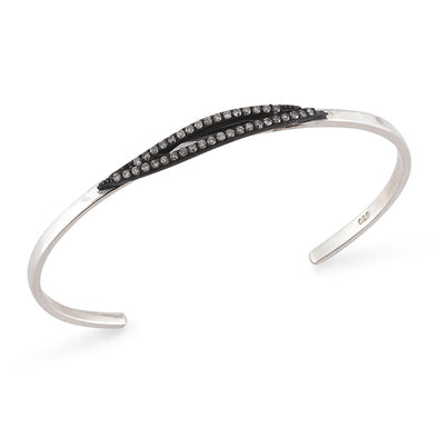 Open Bangle with Big Diamond Feather