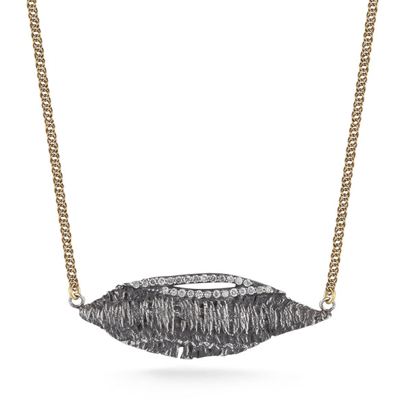 Oxidized Feather with Feather Shaped 0.28ct Diamonds Set NeckLace