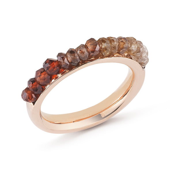 18K Rose Gold Natural Zircon Beads Band