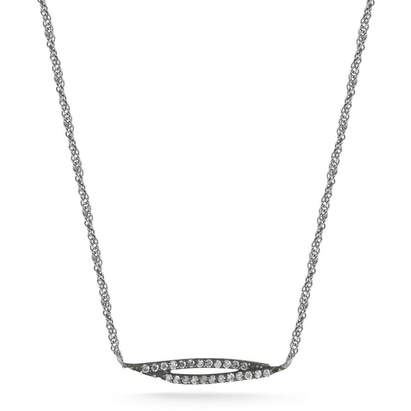 Silver Oxidized Feather Shape Set with 0.28ct Gray Diamond and Silver Oxidized Chain