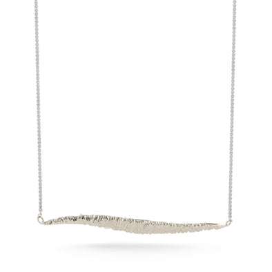 18K Special White Gold Lace Long Wave Necklace