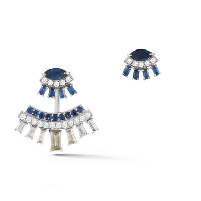 18K White Gold Ear Jacket with Blue Sapphire