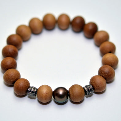 Sandalwood Bead Bracelet with Diamond Beads and Freshwater Pearl