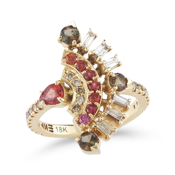 18K Yellow Gold Ring with Andaluzite, Red Sapphire and Light Brown Diamonds