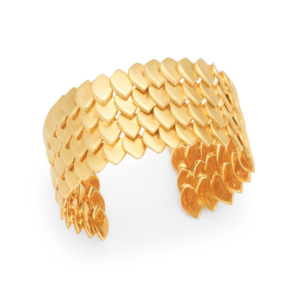 Silver Yellow Gold Plated Fish Skin Cuff