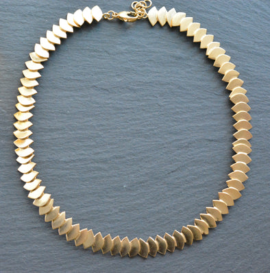 Silver Yellow Gold Plated Fish Skin Collar