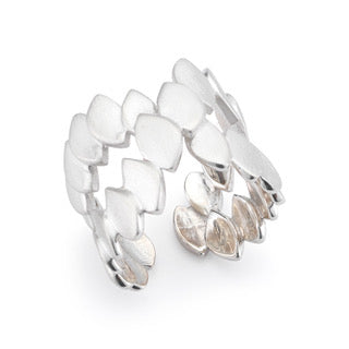 Silver Plated Crossed Fish Skin Ring