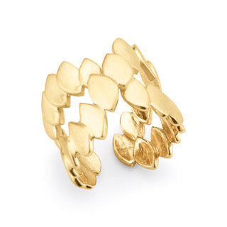 Silver Yellow Gold Plated Fish Skin Crossed Ring
