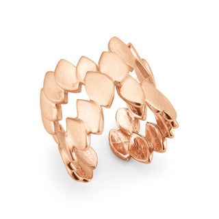 Silver Rose Gold Plated Fish Skin Crossed Ring