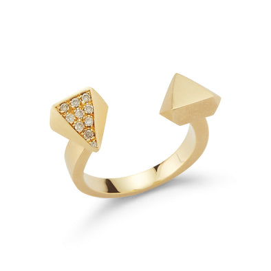 18K Yellow Gold Thorn Open Ring
