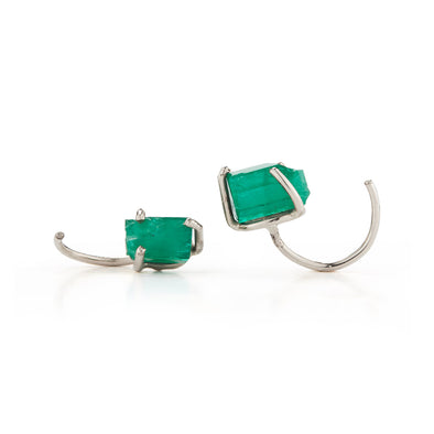 18K Special White Gold Tiny Hoops with Natural Raw Emerald