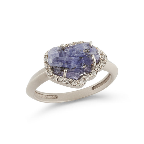 18K Special White Gold Ring with Natural Raw Tanzanite and Champagne Diamonds