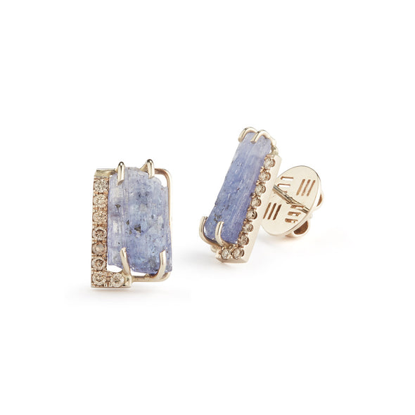 18K Special White Gold Earrings with Natural Raw Tanzanite and Champagne Diamonds