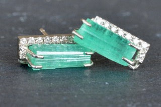 18K Special White Gold Earrings with Natural Raw Emeralds and Champagne Diamonds