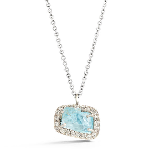 18K Special White Gold Pendant with Raw Aquamarine and Champagne Diamonds