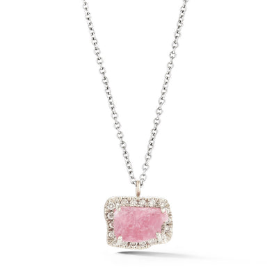 18K Special White Gold Pendant with Raw Pink Tourmaline and Champagne Diamonds