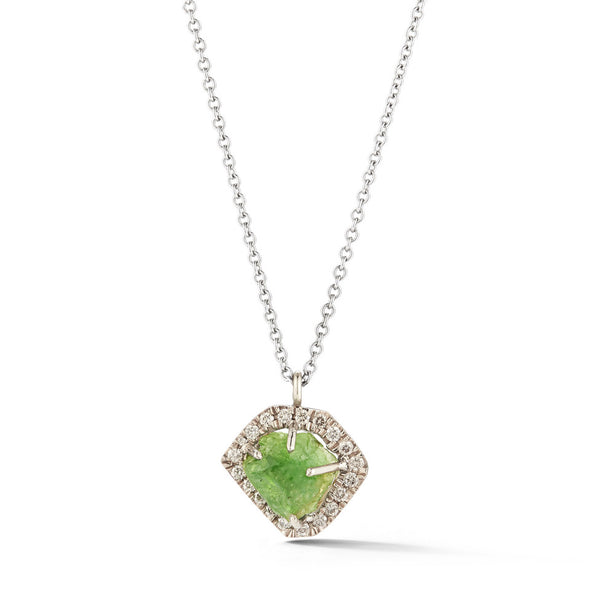 18K Special White Gold Pendant with Raw Peridot and Champagne Diamonds