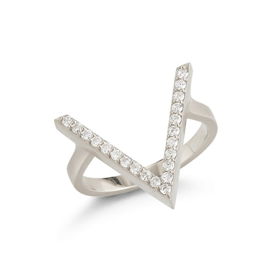 18K White Gold Triangle Ring with Frame of Diamonds