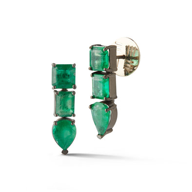 18K White Gold Assymetrical Earrings with Emeralds