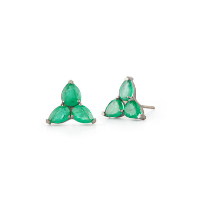 18K White Gold Earrings with Drop Emeralds