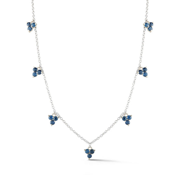 18K Special White Gold Necklace with Sapphires