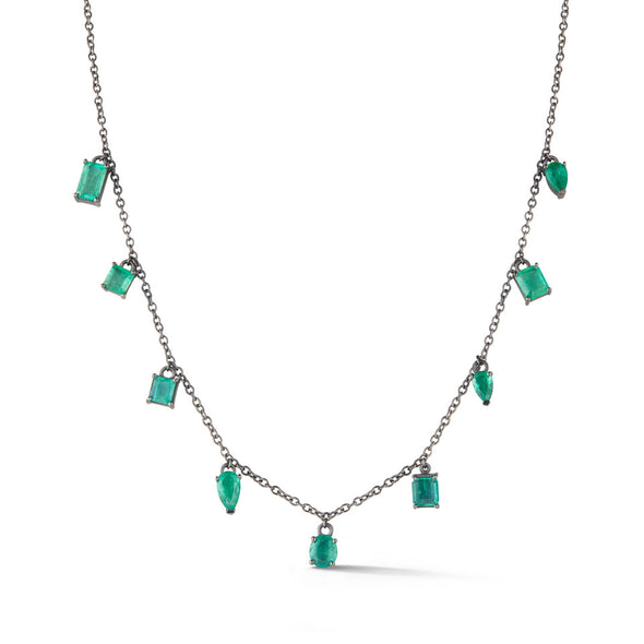 18K Special White Gold Necklace with Emeralds