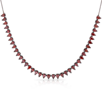 18K Black Rhodium White Gold Necklace with Drop Garnets
