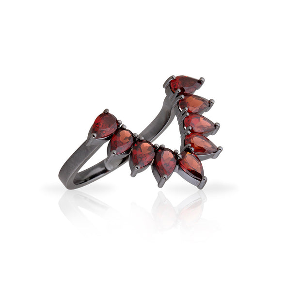 18K Black Rhodium White Gold Ring with Drop Garnets