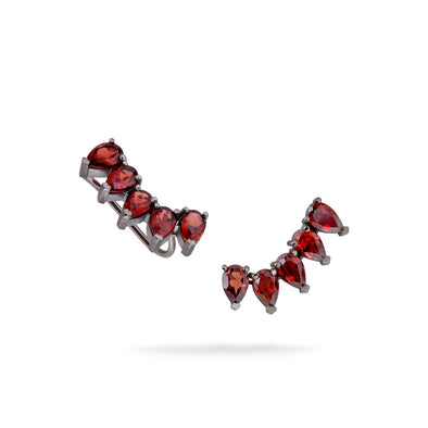 18K Black Rhodium White Gold Ear Climbers with Drop Garnets