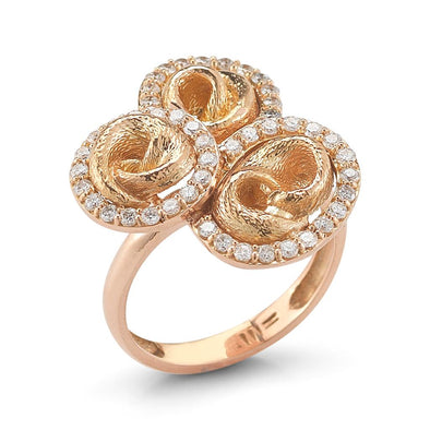 18k Rose Gold Knot Ring with Diamonds
