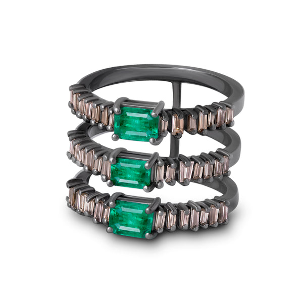 18K Blackened White Gold Tri Line Emerald Ring