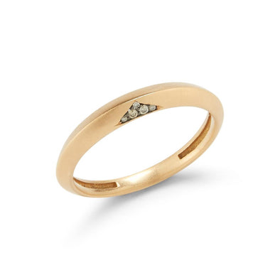 18k Yellow Gold Thorn Pointy Ring with Diamonds