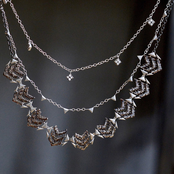 Silver Oxidized Necklace with 9 Dove Pendants