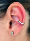 18K Rose Gold Ear Cuff with Rubys and White Diamonds