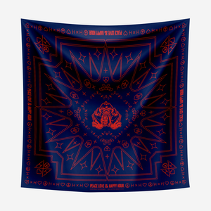Cymbal of Happiness Blue Bandana with Red print