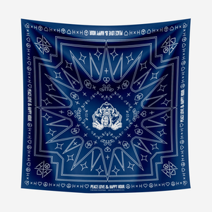 Cymbal of Happiness Blue Bandana with White print
