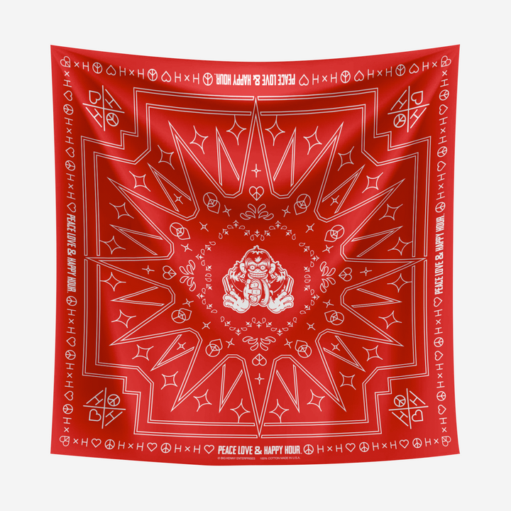 Cymbal of Happiness Red Bandana with White print