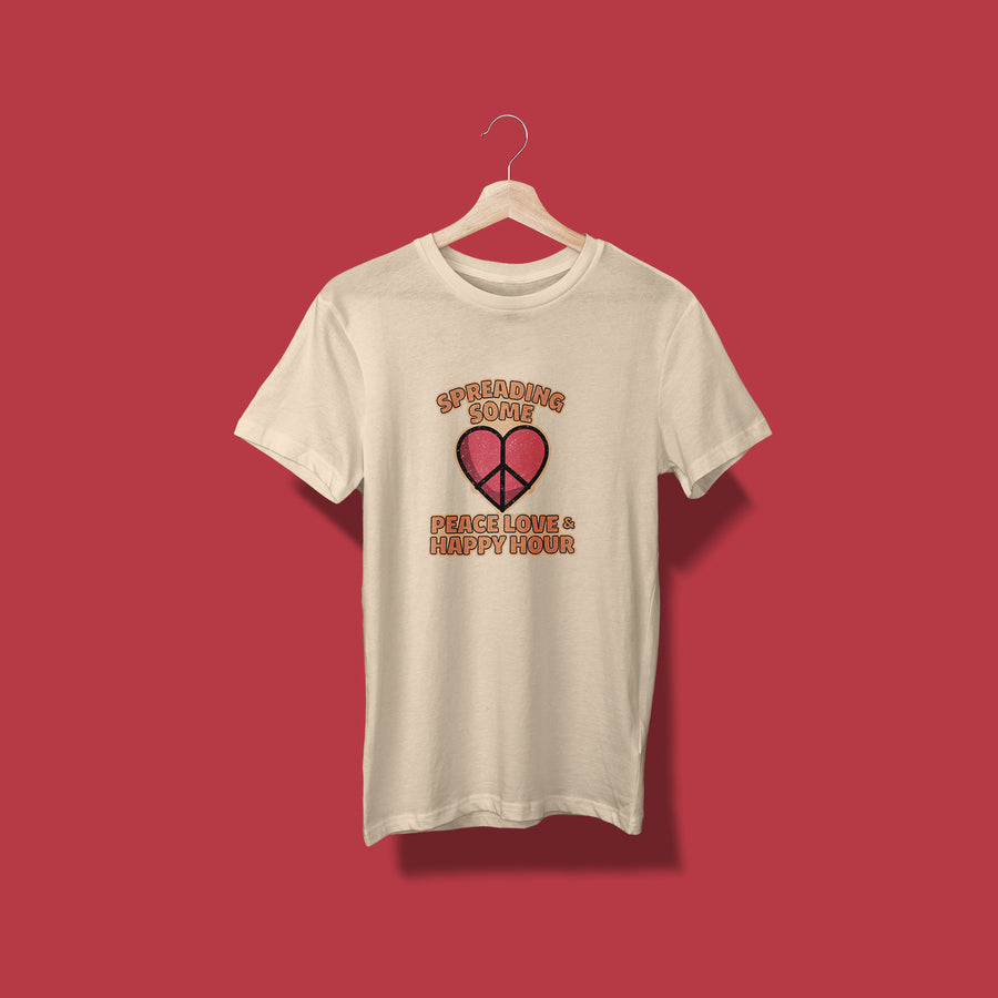 Big Heart PEACE LOVE & HAPPY HOUR Unisex T-Shirt