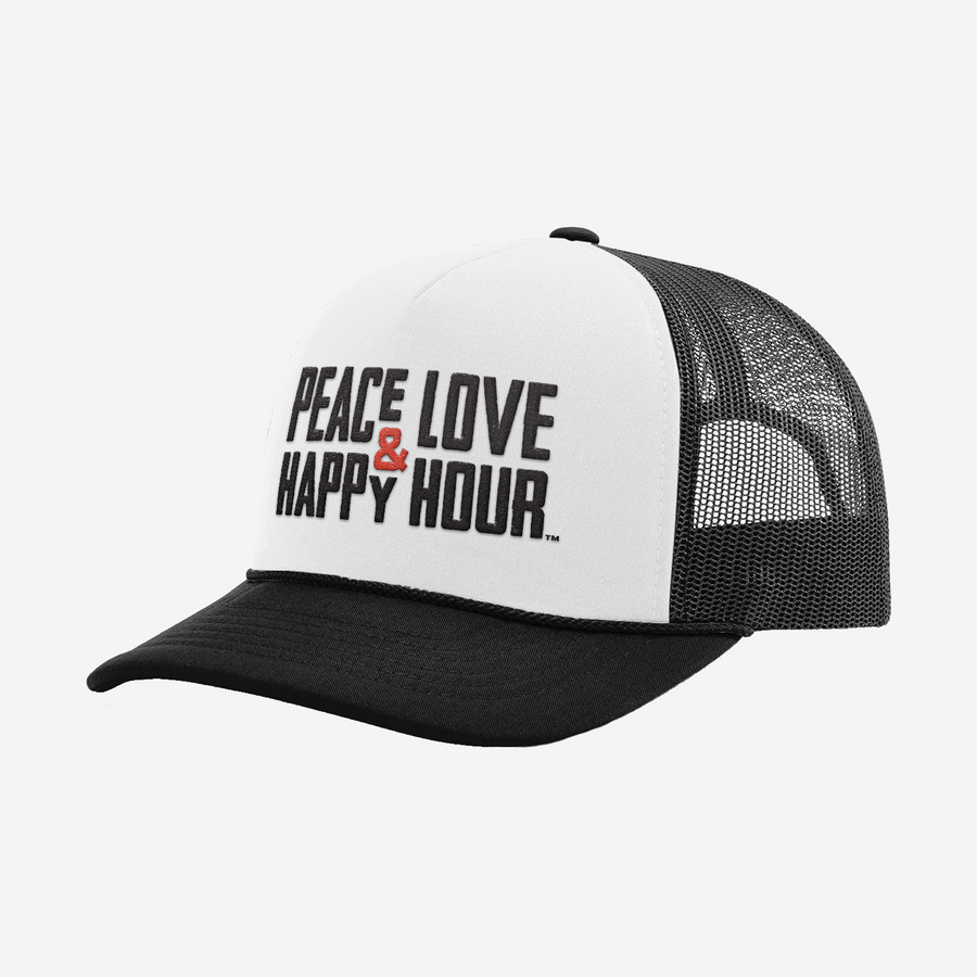 Trucker hat with black mesh back and white front panel with Peace Love & Happy Hour logo in black and red on front.