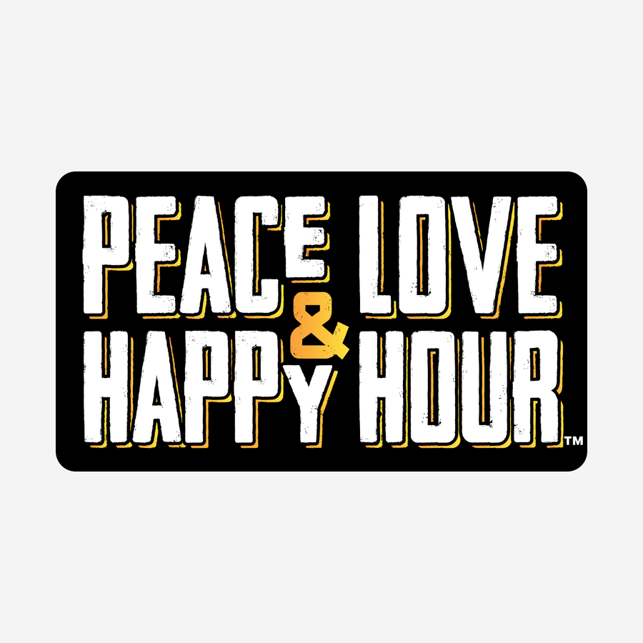 Peace Love & Happy Hour black rectangle sticker