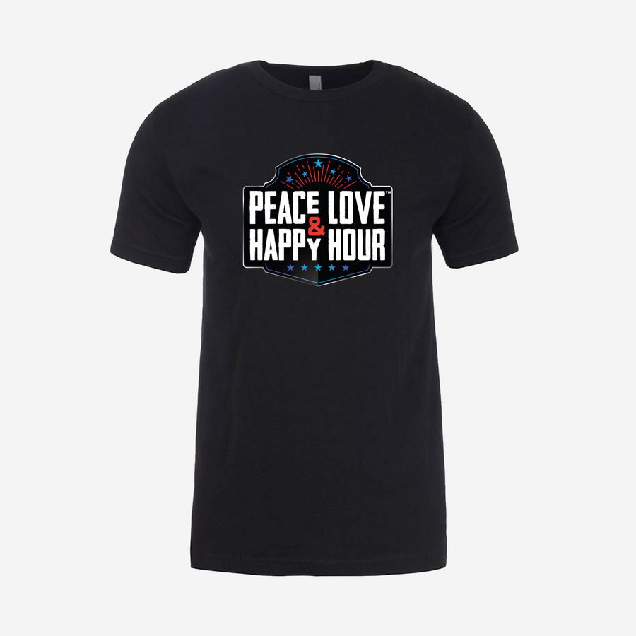 Badlands Black T-Shirt with Red / White / Blue Peace Love & Happy Hour logo
