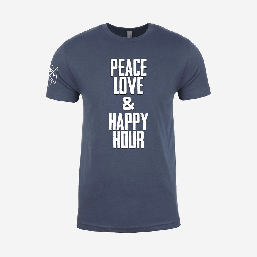 Peace Love and Happy Hour text in white on the front of The Drifter unisex, Indigo t-shirt with our crossbar logo on the right sleeve in white.