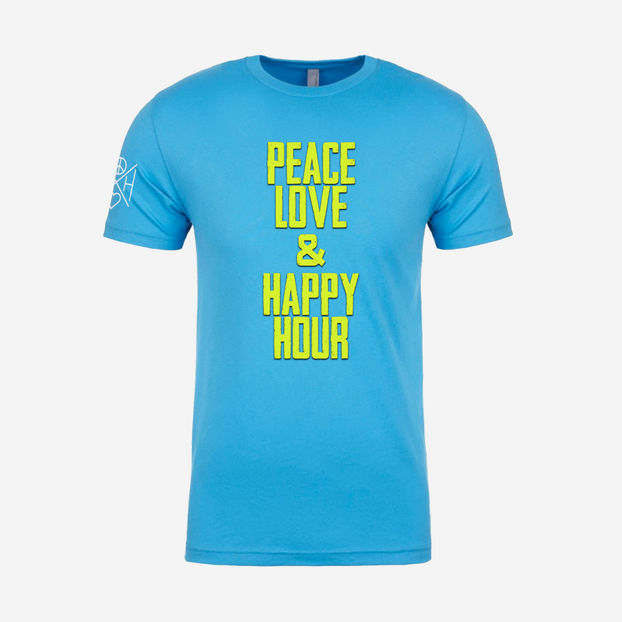 The front of the Good Vibes bright turquoise unisex t-shirt with yellow print centered on the front