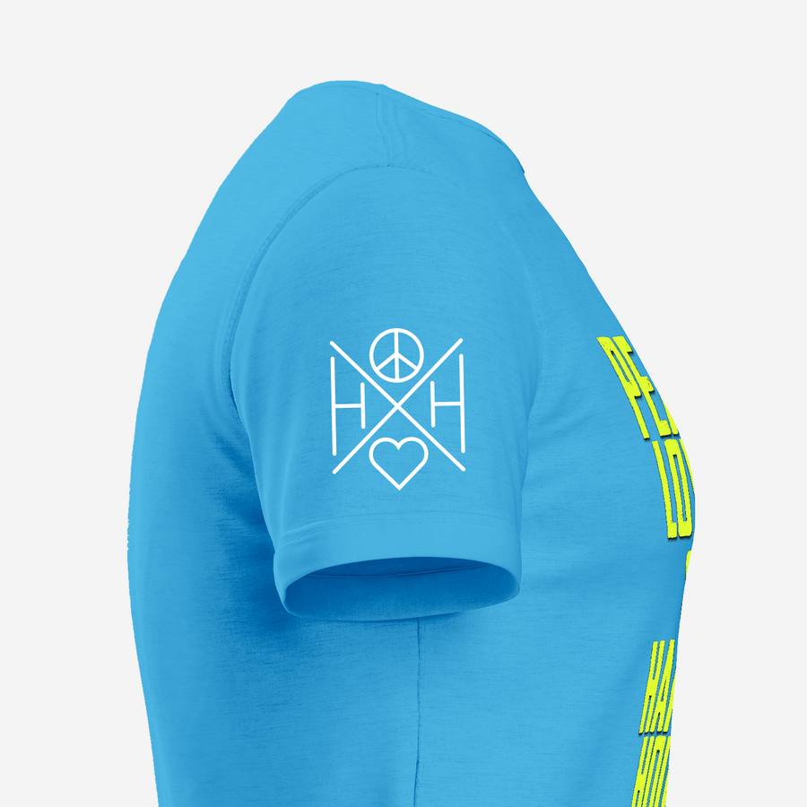The right sleeve of the Good Vibes turquoise unisex t-shirt with our crossbar logo on the right sleeve.