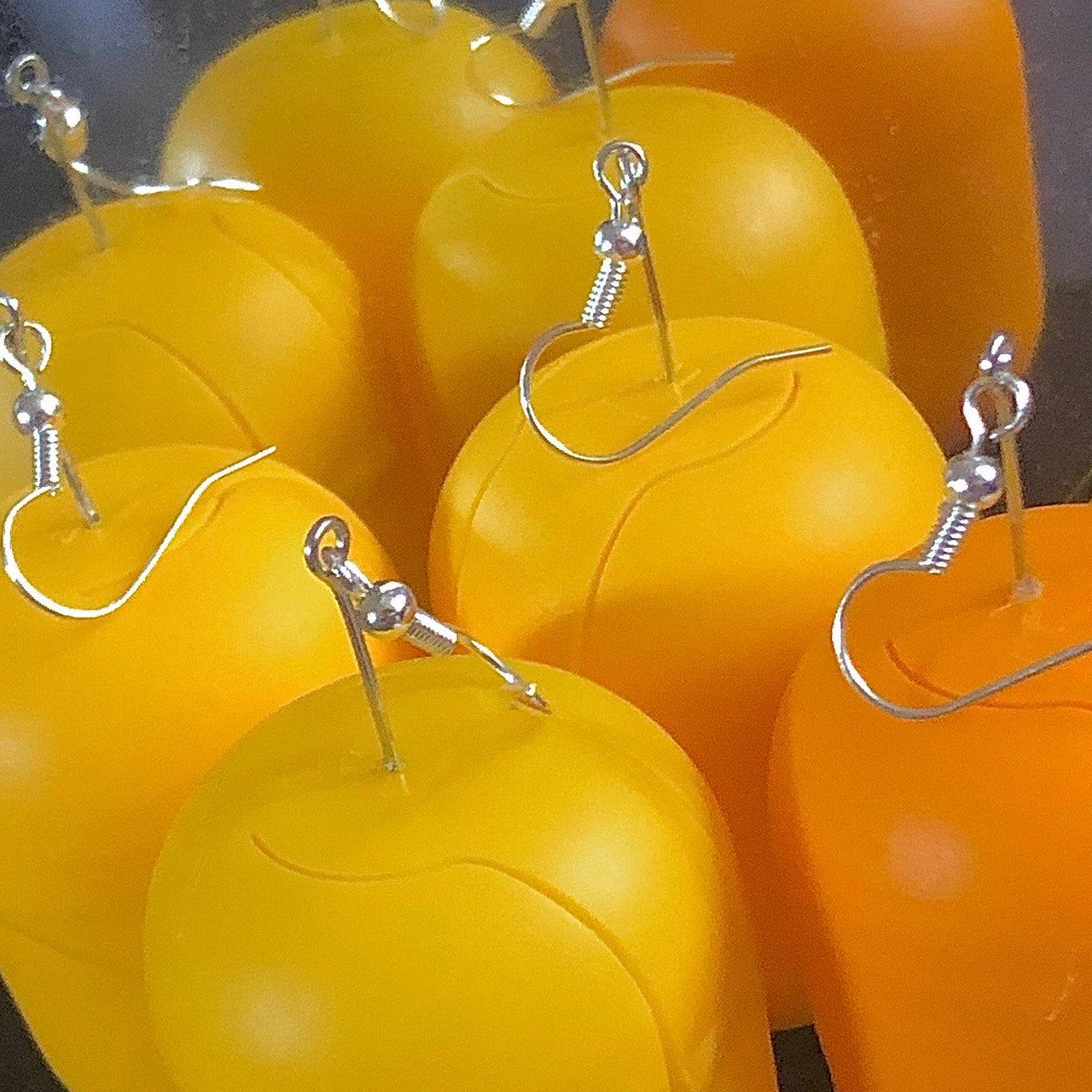 🍳 yellow/orange egg secret hiding place sterling silver earrings 🍳