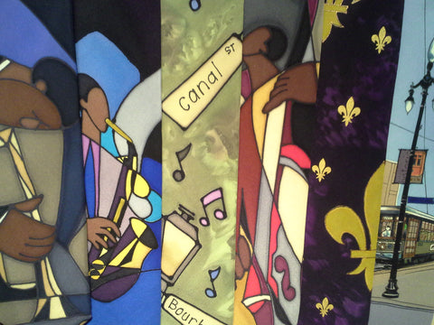 Hand Painted, Owner Designed or Comissioned, New Orleans Iconic Neckwear