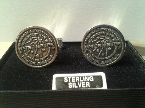Water Meter Cuff Links in Fine Sterling Silver