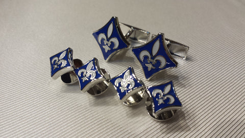 Fleur-de-Lis Diamond Shaped Cufflinks and Tuxedo Stud Set: Blue, or Black & White Enamel - NOK Exclusive! Two Styles!